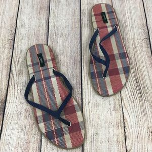 J. Crew Navy Red White Plaid Flip Flops Size 8